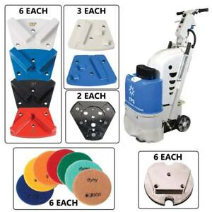 Tpsx1 Floor Preparation Machine W 6ea Diamond Grinding Blocks Traps Pcd