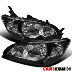 For 2004 2005 Honda Civic 2dr 4dr Coupe Sedan Black Headlights Lamps Pair