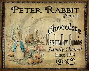 Primitive Spring Peter Rabbit Chocolates Bunny Easter Picture Print 8x10