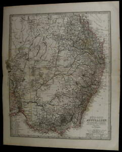 Southeast Australia Queensland New South Wales Nice 1885 Fine Old Detailed Map