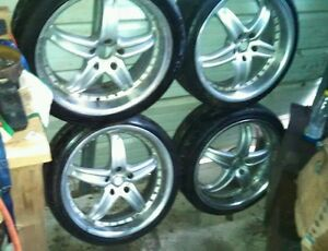 4 Raja Alloy Audi Wheels Rims 225 40 19 With Tires And Center Caps Please Read