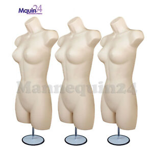 Set Of 3 Flesh Female Mannequin Body Forms W stands hanging Hooks Woman Display