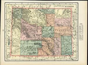 Wyoming United States Sweetwater Laramie County 1899 Antique Detailed Color Map