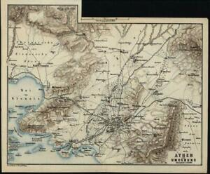 Athens Environs Piraeus Greece 1872 Antique Color Lithograph Map