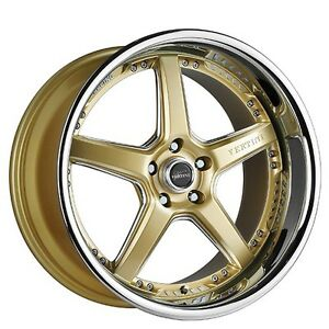 4 Rims 20 Staggered Vertini Wheels Drift Gold W Chrome Ss Lip Rims
