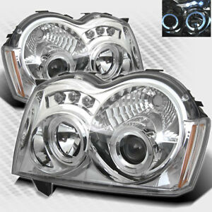 For 2005 2007 Jeep Grand Cherokee Twin Halo Led Projector Headlights Head Light