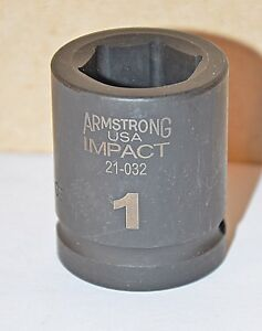 1 Inch Armstrong Usa 3 4 Drive 6 Point Standard Impact Socket Free Shipping