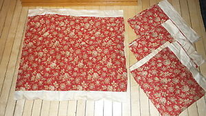 4 Antique Pillow Covers Pillow Shams Beige Floral On Brick Red 24 X30