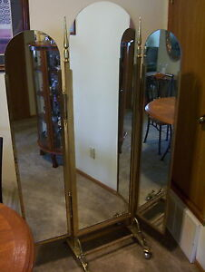Vintage Mirror Three Panel On Brass Stand