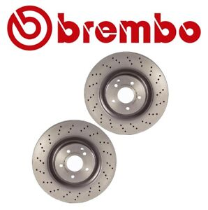 For W203 C209 A209 Pair Set Of 2 Front Brake Disc Rotors Drilled 345mm Brembo