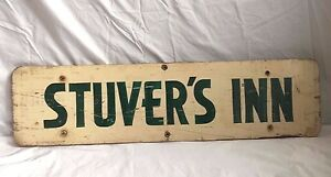 1940 50 S Stuver S Inn Antique Wood Sign Wooden Vintage Lancaster Pennsylvania