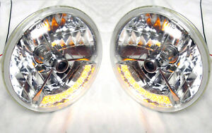 Street Hot Rod 7 Tri Bar Black Dot H4 Headlights W Amber Led Turn Signal Pair