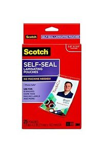 Scotch Self sealing Laminating Pouches Pouch id Badge w clip pack Of3