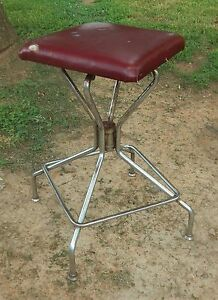 Vtg Metal Industrial Swivel Stool Drafting Square Seat Chrome Legs 23 5 Tal