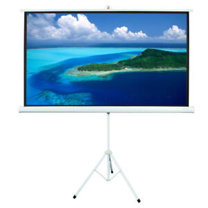 84 Diagonal Motorized Projection Screen Hd Movie Projector White 16 9 Hd Format