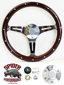 1969 1973 Gto Steering Wheel 15 Dark Mahogany Wood Steering Wheel