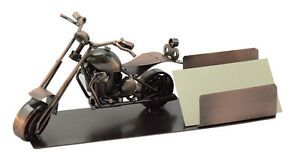 Custom Chopper Motorcycle Business Card Holder Desk Organizer