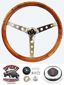 1964 1966 Pontiac Gto Steering Wheel Stainless Walnut 15 No Tilt Grant