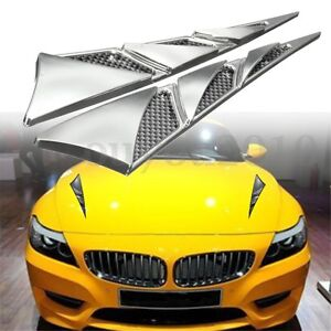 Universal Abs Car Hood Side Air Intake Flow Vent Cover Decorative Sticke Chrome