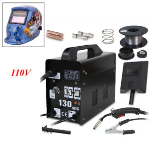 Mig 130 Welder Gas Less Flux Core Wire Automatic Feed Welding Machine Helmet Kit