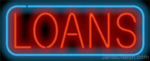 Loans Genuine Neon Sign Jantec Usa 37 X 15 Fast Free Ship Car Auto Personal