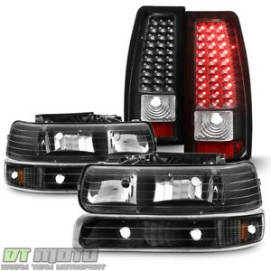 Blk 1999 2002 Chevy Silverado Headlights Bumper Signal Lamps Led Tail Lights