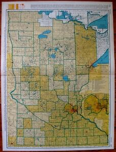 1947 Antique Minnesota Map W Railroads Rare Poster Size Map Of Minnesota 3755