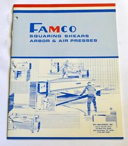 Famco L 1010 Squaring Shears Arbor And Air Presses Brochure