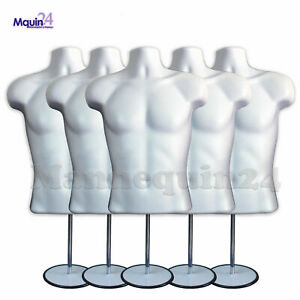 5 Mannequin Male Torsos 5 Stands 5 Hangers White Plastic Men Dress Forms