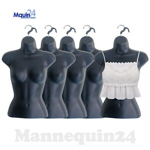 5 Mannequin Female Torsos Lot Of 5 Black Plastic Women s Hanging Dress Forms