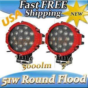 2x Red 7 Suv Truck 4x4 Off Road 51w 17pcs White Led Round Flood Fog Lights