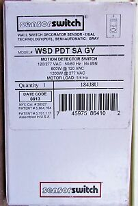 New Sensorswitch Gray Wsd Pdt Sa Gy Motion Detector Switch 120 277 Vac 50 60 Hz