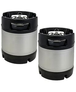 New Kegco 1 75 Gallon Home Brew Ball Lock Keg With Rubber Handle Set Of 2