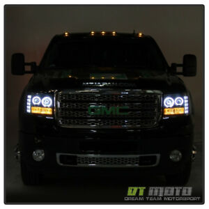 2007 2013 Gmc Sierra 1500 2500hd Led Drl Halo Projector Headlights Headlamps Set