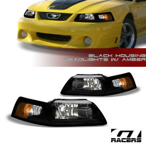 For 1999 2004 Ford Mustang Oe Blk Housing Headlights Signal Lamps Amber Pair Nb