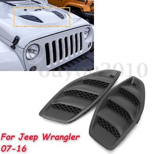 2pcs Hood Power Louvers Engine Inlet Vents Cover 10th For Jeep Jk Wrangler 07 16