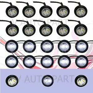 20x 3 4 Inch Round Mini White Clear Side 3 Led Smd Clearance Marker Light Boat
