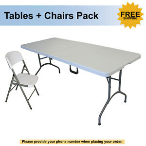 6 Center Fold Table And Folding Chair Package Free Shipping
