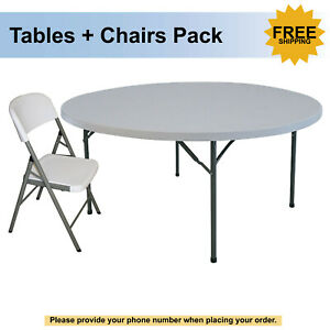 Plastic Set Of Round Table And Folding Chair Free Shipping