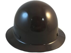 Msa Skullgard Full Brim Hard Hat With Fastrac Iii Ratchet Suspension Brown