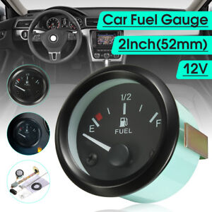 2 52mm Car Universal Fuel Level Gauge Meter W Fuel Sensor E 1 2 F Pointer Set