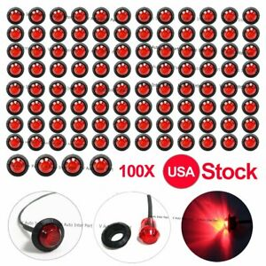 100x 12v 3 4 Mini Round Red Truck Side 3 Led Smd Marker Bullet Light Us Stock