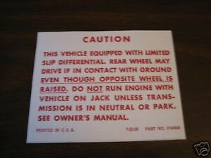 63 64 65 66 67 68 69 Corvette Trunk Posi Traction Label Limited Slip Decal Exact