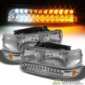 4pc 1999 2002 Chevy Silverado 00 06 Suburban Tahoe Headlights Led Bumper Lights