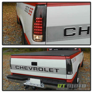 Black 1988 1998 Chevy Silverado C K Suburban Tahoe Sierra Led Tail Lights Lamps