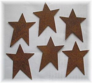 12 Primitive Rusty Tin Stars 2 50 Inch Craft Supplies Scrapbooking Whimsical