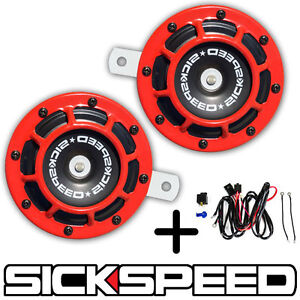 Sickspeed 2pc Red Super Loud Grille Mount Compact Blast Tone Horn W Harness P26