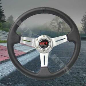 330mm Silver Pvc Leather Deep Dish Sport Racing Steering Wheel Fits Universal