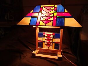Rare Arts Crafts Table Lamp Oak Frame With Stunning Glass Colors 2 Bulb