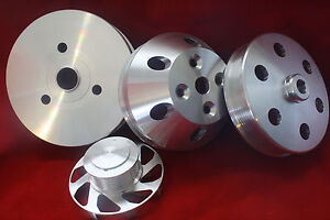 Serpentine Pulley Set 6 groove Chevy Small Block Short Water Pump Polished Sbc